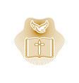dove open bible and cross of jesus christ vector image vector image