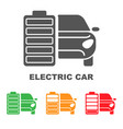 electric car battery charging sign icon with flat vector image vector image