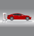 electric car with charging station vector image vector image