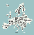 europe map poster map with country vector image