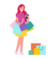 female with shopping bags vector image vector image