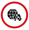 Global Fire Flat Rounded Icon vector image