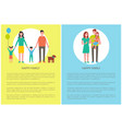 happy family with pet posters vector image vector image