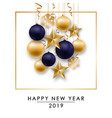 happy new year design with shiny golden and blue vector image