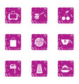 hearty breakfast icons set grunge style vector image vector image