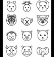 icon set animals black and white vector image vector image