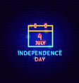 independence day neon label vector image