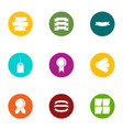 ink ribbon icons set flat style vector image
