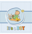little baby boy play with his toysbaby shower card