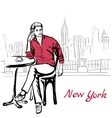 man sitting in cafe vector image vector image