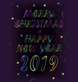 merry christmas happy new year 2019 vector image