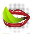 Mouth with leavef Vegetarian food vector image vector image