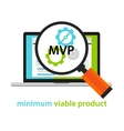 MVP minimum viable product start-up working gear vector image vector image