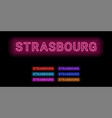 neon name of strasbourg city vector image