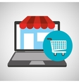 online store shopping cart graphic vector image