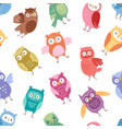 owls cartoon cute bird set cartoon owlet vector image vector image
