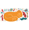 queen cat flat hand drawn vector image