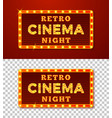 realistic glowing retro cinema night signs vector image vector image