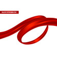 realistic red ribbon in a swirling position vector image vector image