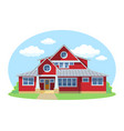red cartoon house exterior with blue clouded sky vector image vector image