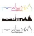 Saint Petersburg skyline linear style with rainbow vector image vector image
