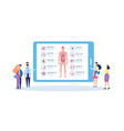 screen with body anatomy infographic and people vector image vector image