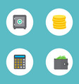 set of banking icons flat style symbols with coins vector image