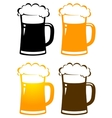 set of colorful beer mugs with foam vector image