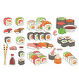 set of sushi rolls wasabi soy sauce ginger vector image vector image