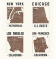 set of us cities vintage t-shirt designs vector image vector image