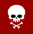 skull pixel art head of skeleton pixelated vector image vector image