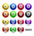 snooker billiard balls with numbers set vector image vector image