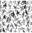 sport silhouettes gray-scale simple icons seamless vector image vector image