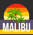 sunset palm tree malibu beach background flat vector image