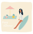surfer gitrl resting on beach vintage poster vector image