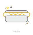 Thin line icons Hot dog vector image