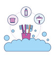 toothbrushes foam bubbles washbasin bathroom vector image