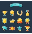 Trophy and awards stickers set vector image