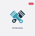two color pistons cross icon from mechanicons vector image