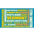 Vermont state cities list vector image