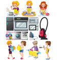 women doing chores around the house vector image vector image