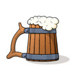 wooden beer mug with beer and froth vector image