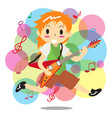 young boy playing electric rock guitar happy love vector image
