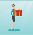 young caucasian woman holding box with gift vector image vector image