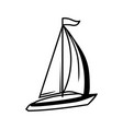 black and white sailing yacht vector image
