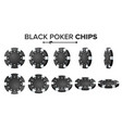 black poker chips realistic set plastic vector image vector image