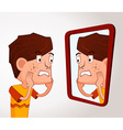 boy with acne problem vector image