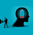 businessman charging a brain vector image vector image
