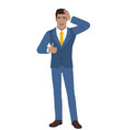 businessman showing thumb up and grabbed his head vector image vector image