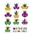 carnival mardi gras set colorful mask vector image vector image
